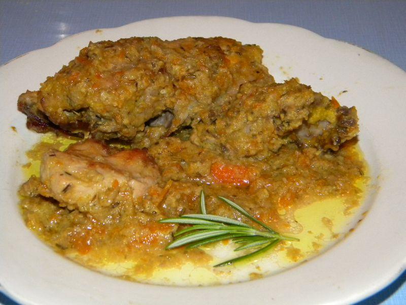 Pollo al forno con salsa di verdure